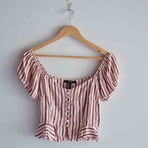 Forever 21 Striped Pink White Button Crop Top